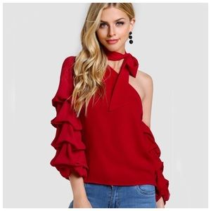 Tops - Red Ruffle One Shoulder Top